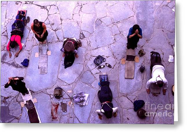 Prostration Greeting Cards - Pilgrims at Jokhang Monastery -  Tibet Greeting Card by Anna Lisa Yoder