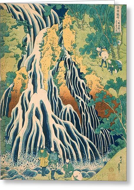 Waterfall Drawings Greeting Cards - Pilgrims at Kirifuri Waterfall on Mount Kurokami in Shimotsuke Province Greeting Card by Katsushika Hokusai
