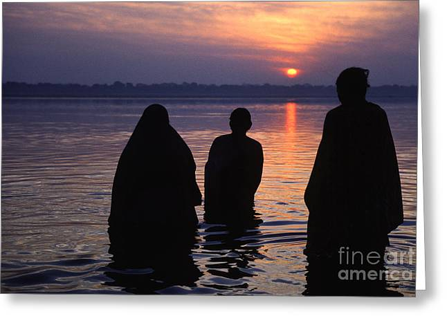 The Ganges Greeting Cards - Pilgrims Bath In The Ganges - Varanasi India Greeting Card by Craig Lovell