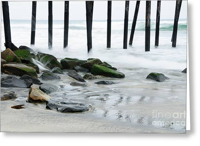 Recently Sold -  - California Beaches Greeting Cards - Pilings at Oceanside Greeting Card by Vivian Christopher