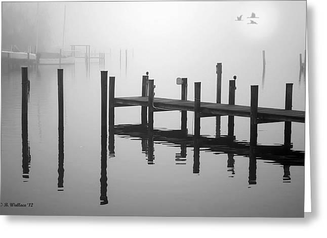 Ripples Of Black And White Greeting Cards - Pilings In The Fog Greeting Card by Brian Wallace