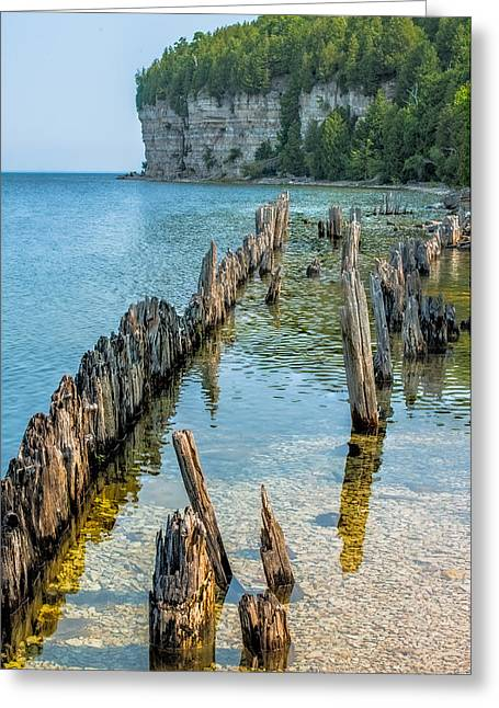 Lakescape Greeting Cards - Pilings on Lake Michigan Greeting Card by Paul Freidlund