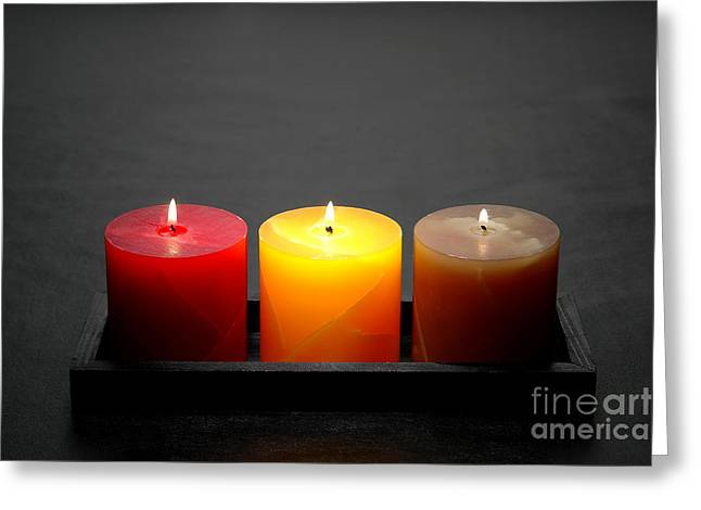 Burning Greeting Cards - Pillar Candles Greeting Card by Olivier Le Queinec