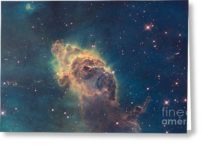 Celestial Pillars.celestial Greeting Cards - Pillar In The Carina Nebula Greeting Card by Science Source