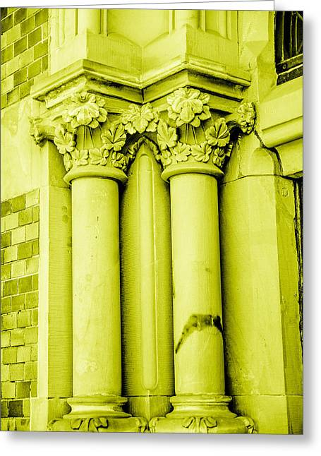Europe Mixed Media Greeting Cards - Pillar In Yellow Tone Greeting Card by Toppart Sweden