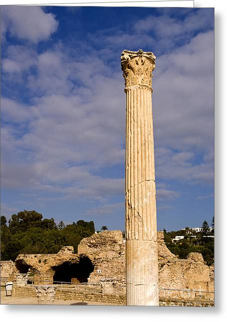 Northern Africa Photographs Greeting Cards - Pillar Of Carthage Tunisia Old City Greeting Card by Bill Bachmann