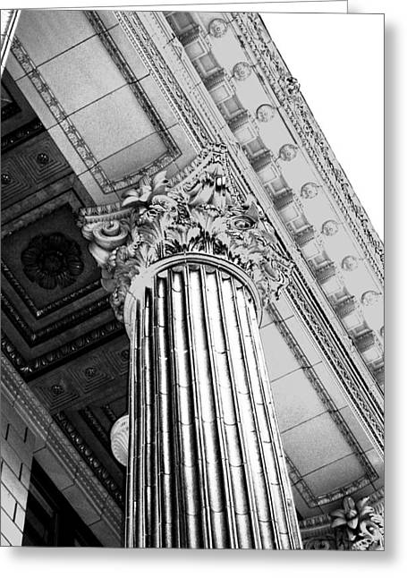 Portland Photography Greeting Cards - Pillar of Finance  Greeting Card by Cathie Tyler