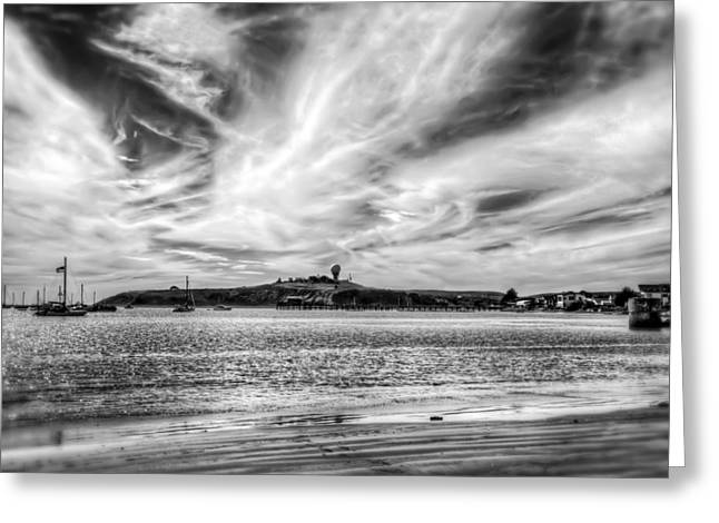 Half Moon Bay Greeting Cards - Pillar Point Harbor Air Force Station - Half Moon Bay in Black and White  Greeting Card by Jennifer Rondinelli Reilly