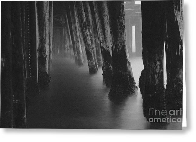 Santa Cruz Pier Photographs Greeting Cards - Pillars and Fog 1 Greeting Card by Paul Topp