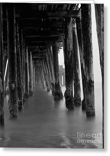 Santa Cruz Pier Photographs Greeting Cards - Pillars and Fog 2 Greeting Card by Paul Topp