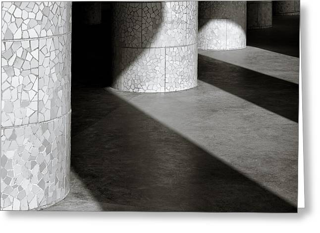 Monochrome Greeting Cards - Pillars and Shadow Greeting Card by Dave Bowman