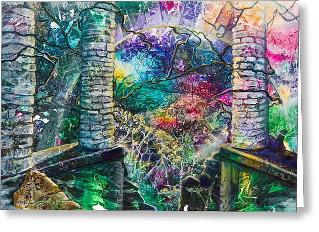 Patricia Mixed Media Greeting Cards - Pillars at the Edge of the World Greeting Card by Patricia Allingham Carlson