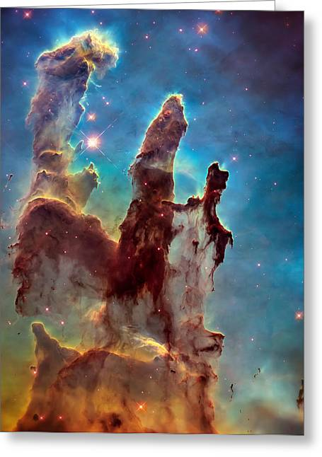 Hubble Telescope Photographs Greeting Cards - Pillars of Creation in High Definition Cropped Greeting Card by The  Vault - Jennifer Rondinelli Reilly