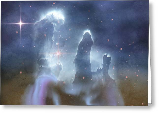Celestial Pillars.celestial Greeting Cards - Pillars Of Creation In The Eagle Nebula Greeting Card by Corey Ford