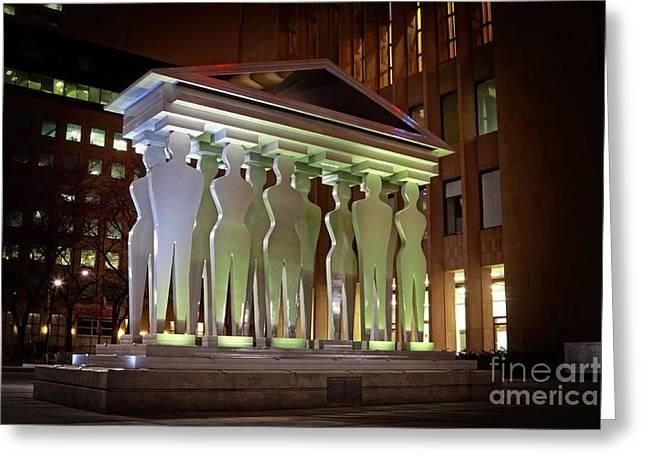 Metal Sculpture Greeting Cards - Pillars of Justice Sculpture Greeting Card by Charline Xia