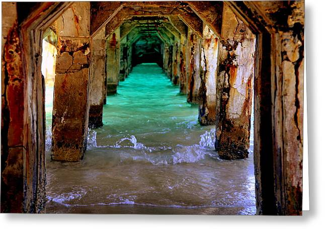 Aqua Greeting Cards - PILLARS of TIME Greeting Card by Karen Wiles