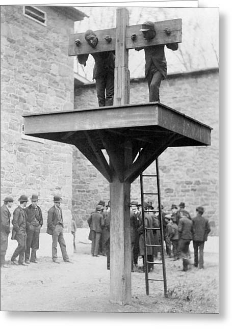 1880s Greeting Cards - Pillory and whipping post, 1880s Greeting Card by Science Photo Library