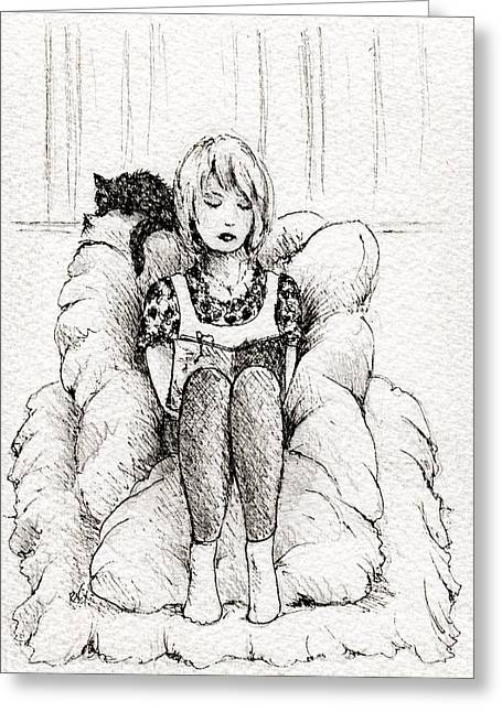 Intrigue Drawings Greeting Cards - Pillow Book Greeting Card by Rachel Christine Nowicki
