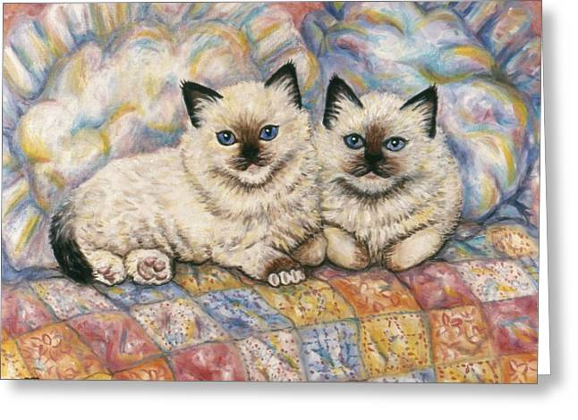 Kitten Greeting Cards - Pillow Mates Greeting Card by Linda Mears
