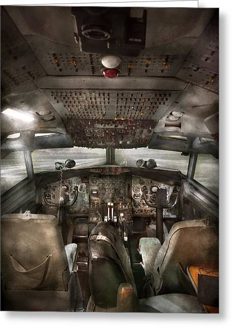Recently Sold -  - Empty Chairs Greeting Cards - Pilot - Boeing 707  - Cockpit - We need a pilot or two Greeting Card by Mike Savad