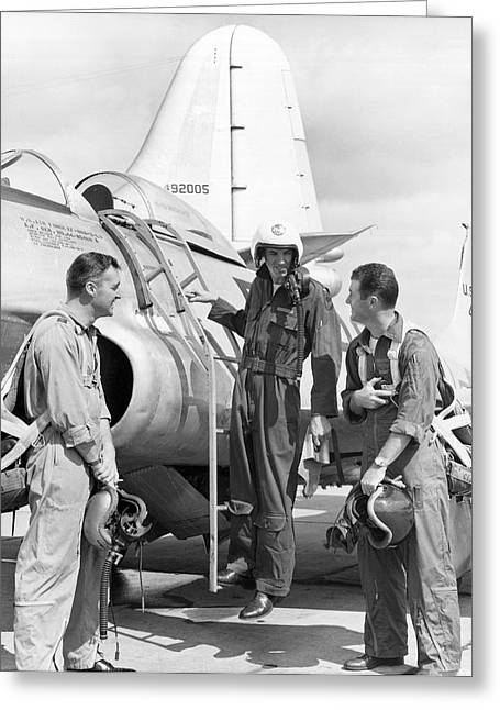 Famous Aviators Greeting Cards - Pilot Chuck Yeager Greeting Card by Underwood Archives