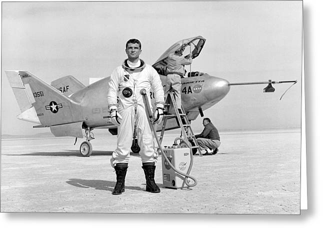 Cecil Greeting Cards - Pilot Major Cecil Powell And The X-24A Greeting Card by Gary Bodnar