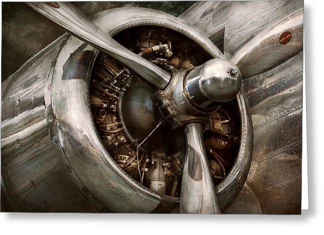 Pilot - Prop - Propulsion Greeting Card by Mike Savad