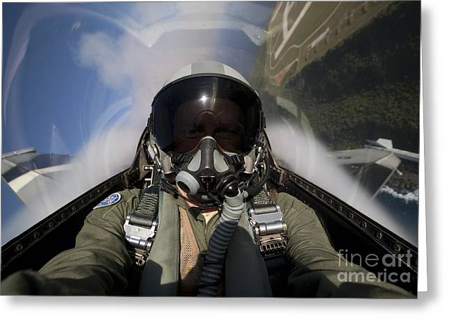 Self-portrait Greeting Cards - Pilot Takes A Self Portrait While Greeting Card by HIGH-G Productions