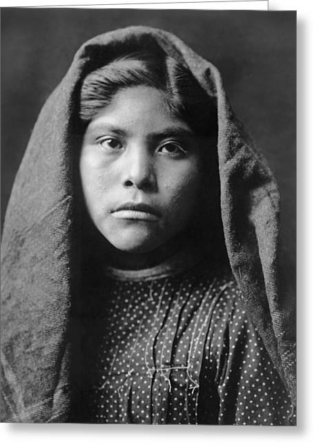 1907 Greeting Cards - Pima Indian girl circa 1907 Greeting Card by Aged Pixel