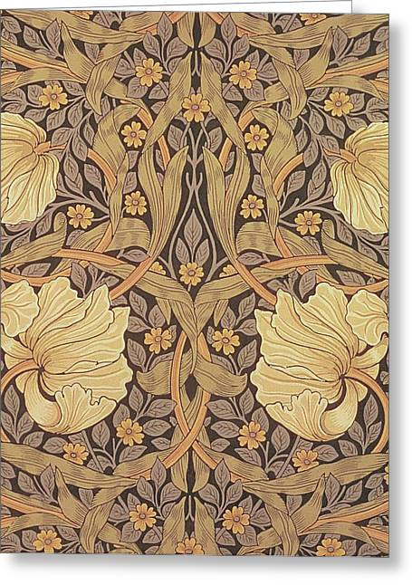 Leafs Tapestries - Textiles Greeting Cards - Pimpernel wallpaper design Greeting Card by William Morris