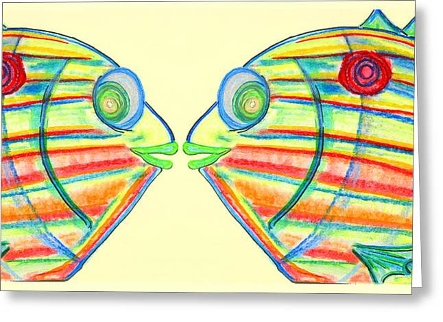 Surfing Art Pastels Greeting Cards - Pin Fish Greeting Card by W Gilroy