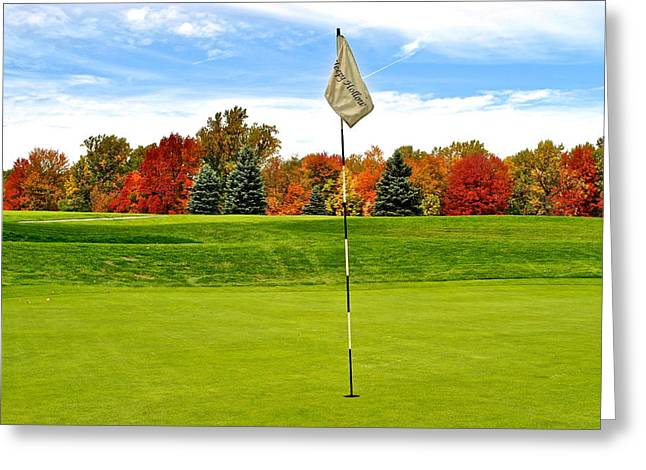 Augusta National Golf Club Greeting Cards - Pin High Greeting Card by Frozen in Time Fine Art Photography
