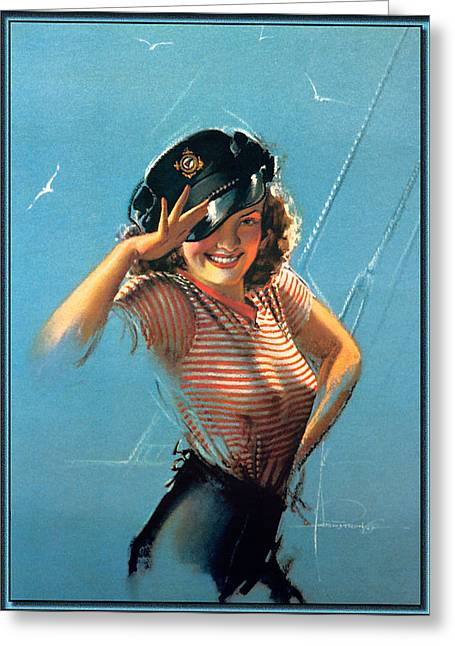 Woman In A Dress Greeting Cards - Pin Up In A Sailors Uniform Greeting Card by Rolf Armstrong