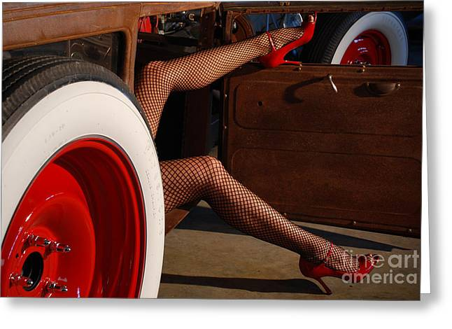 Beautiful Car Greeting Cards - Pin Up Legs in Red Heels  Greeting Card by Jt PhotoDesign