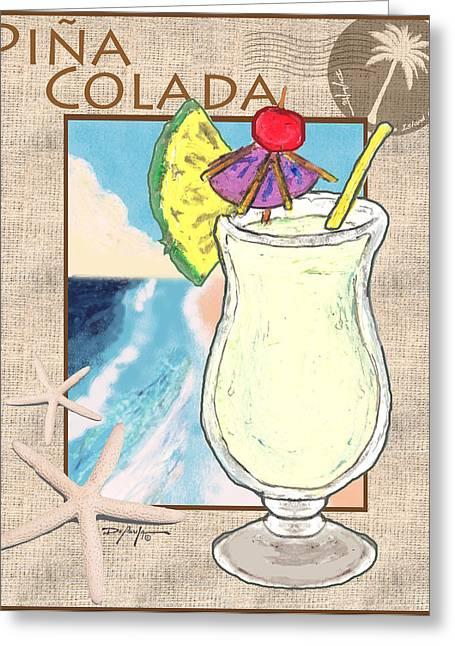Island Artist Pastels Greeting Cards - Pina Colada Greeting Card by William Depaula