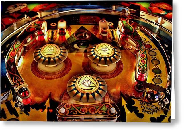 Pinball All Seeing Eye Greeting Card by Benjamin Yeager