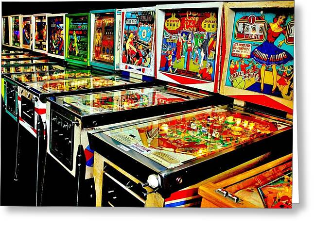 Pinball Alley Greeting Card by Benjamin Yeager