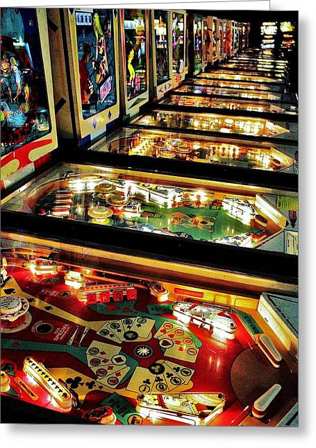 Pinball Arcade Greeting Card by Benjamin Yeager