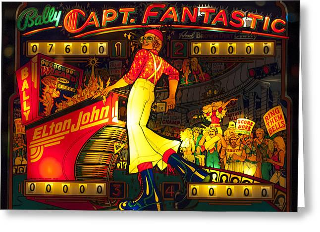 Pinball Machine Capt. Fantastic Greeting Card by Terry DeLuco