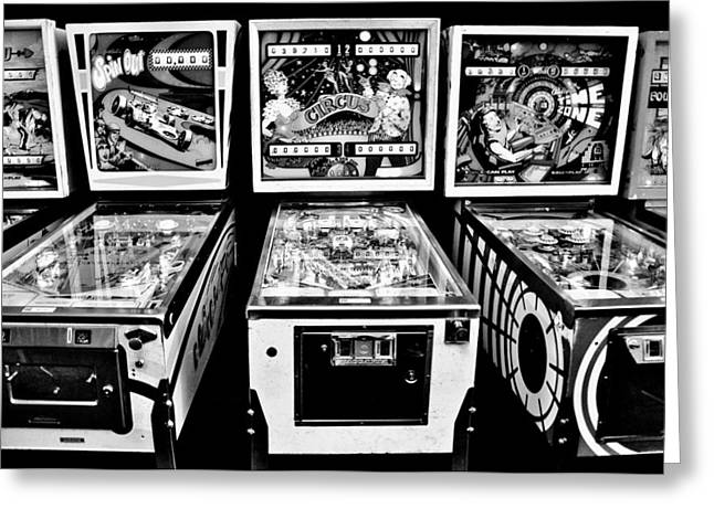 Pinball Memories Greeting Card by Benjamin Yeager