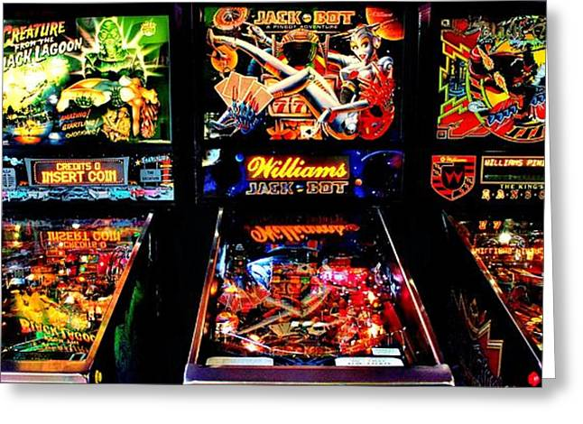 80s Greeting Cards - Pinball Panorama Greeting Card by Benjamin Yeager
