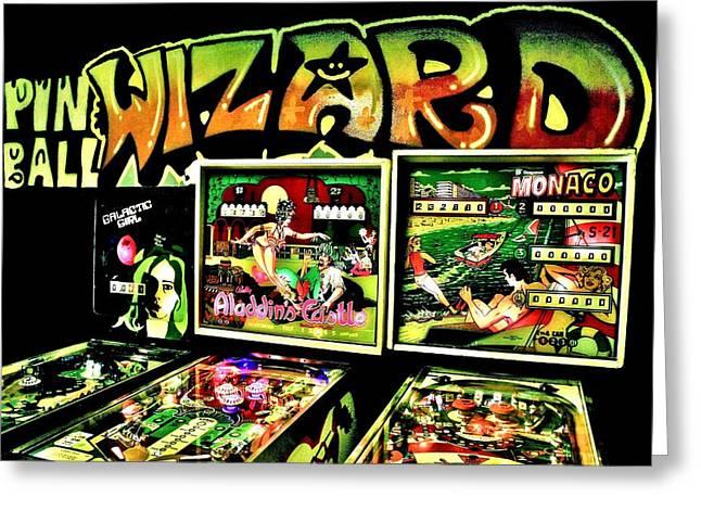 Vintage Video Game Greeting Cards - Pinball Wizard Greeting Card by Benjamin Yeager