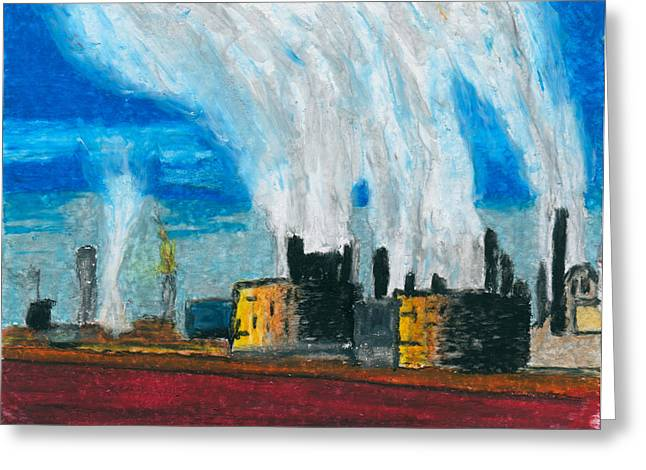 Stack Pastels Greeting Cards - Pine Bend Refinery Greeting Card by R Kyllo