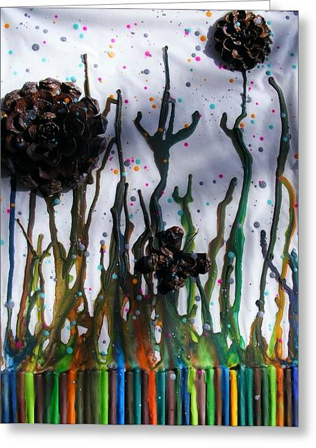 Pine Cones Mixed Media Greeting Cards - Pine cone flower and melted crayon stems Greeting Card by Misty Clark