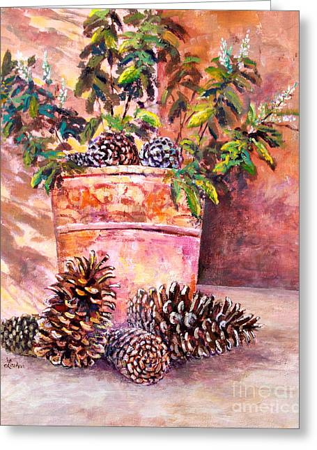 Pine Cones Paintings Greeting Cards - Pine Cone Still Life Greeting Card by Lou Ann Bagnall
