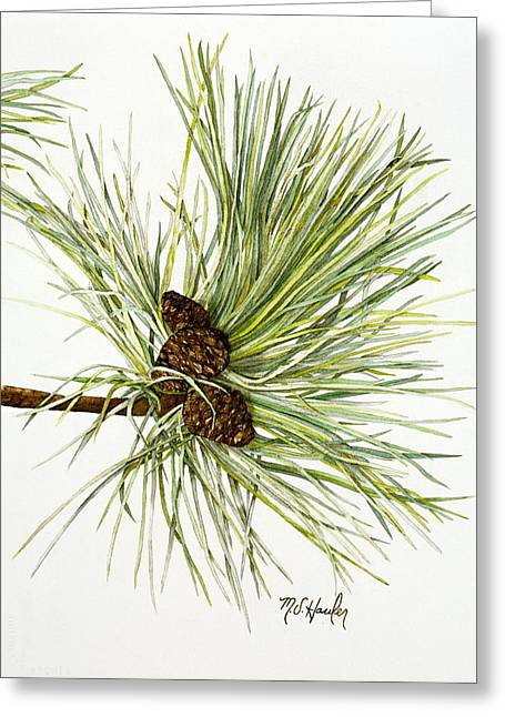 Pine Needles Paintings Greeting Cards - Pine Cones Greeting Card by Mary susan Hauler