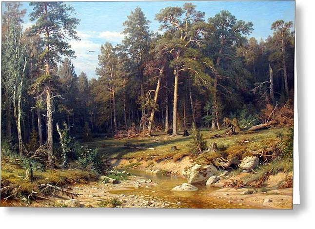 Beautiful Creek Paintings Greeting Cards - Pine Forest Greeting Card by Shishkin