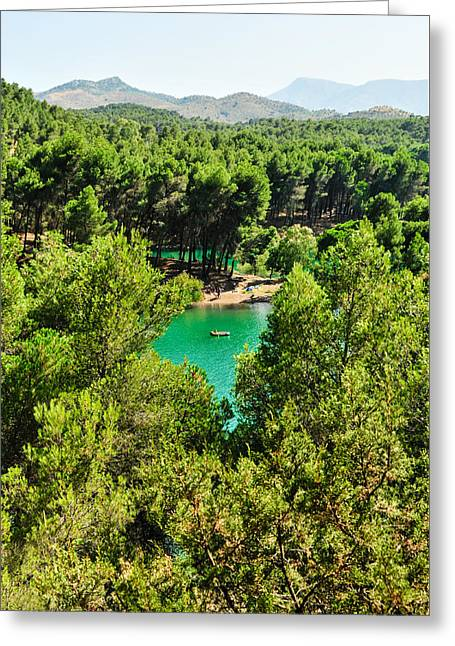 Tetyana Kokhanets Greeting Cards - Pine forests with mountainous backdrops surround turquoise lakes Greeting Card by Tetyana Kokhanets