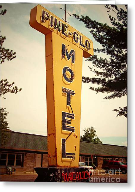 Pines Digital Art Greeting Cards - Pine Glo Motel Greeting Card by Jim Zahniser