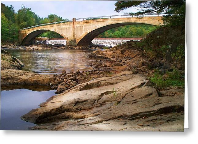 Rural Maine Roads Greeting Cards - Pine Island Bridge Greeting Card by Joy Nichols